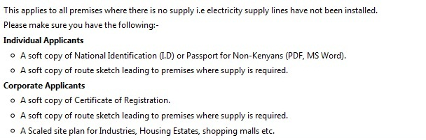 Application for New Supply of Electricity Kenya Stima Online