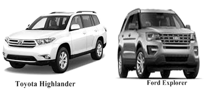 Ford Explorer and Toyota Highlander