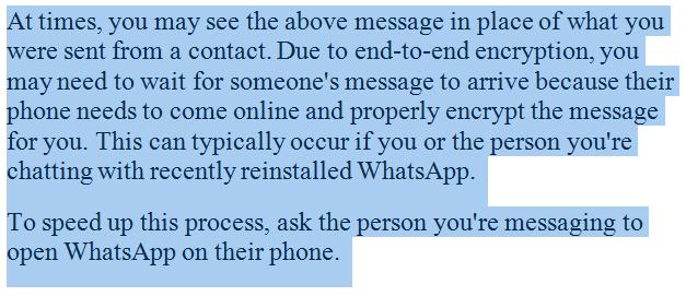 Whatsapp message waiting
