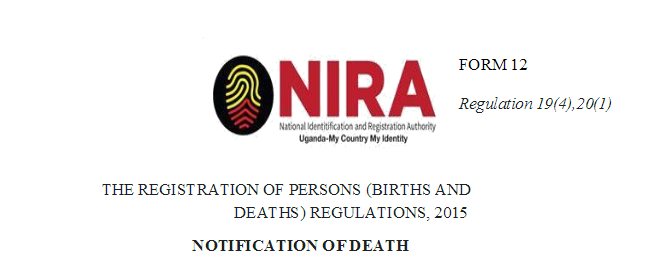 NIRA Death Certificate Form 12 [Download Preview]