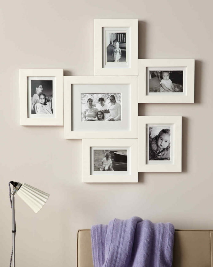 фотографии в рамках на стене в интерьере