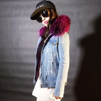 Джинсовая куртка с мехом с чем носить