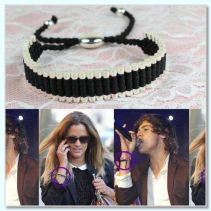 Harry styles black and silver bracelet