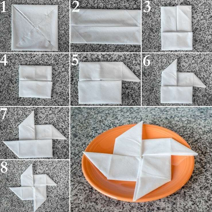 как красиво сложить бумажные салфетки на праздничный стол схемы