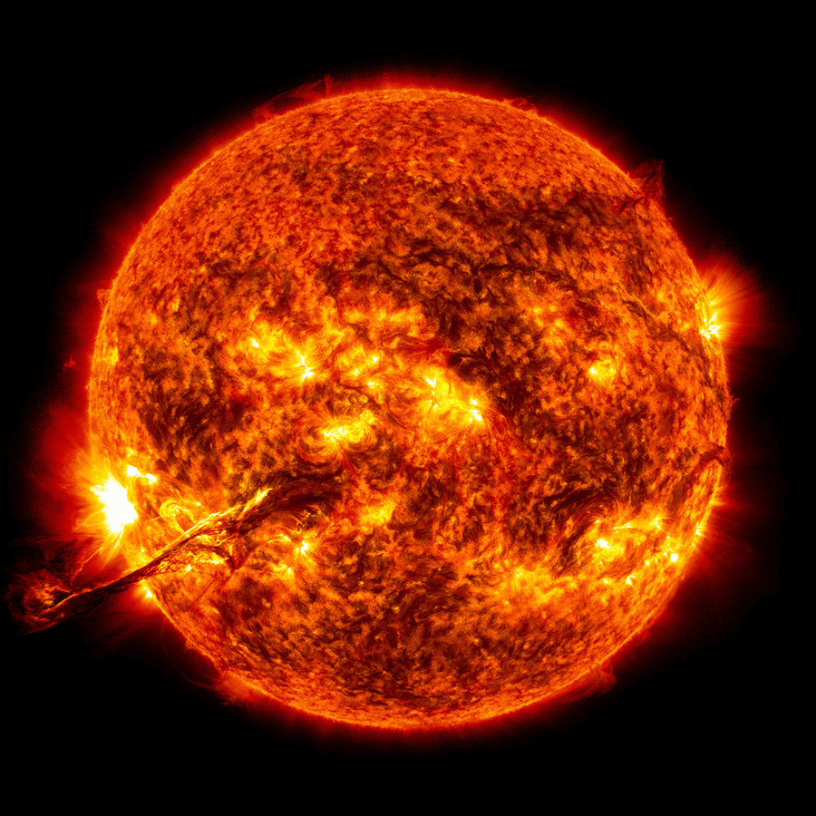 Sun's surface with solar flares