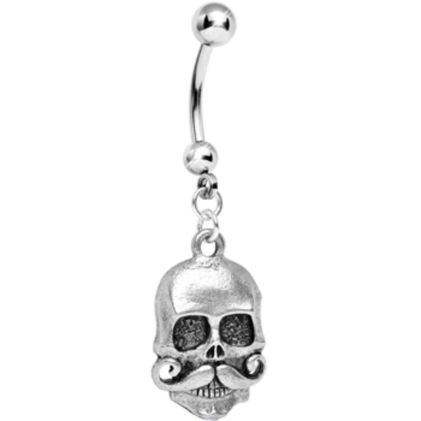 Moustache Skull Belly Ring