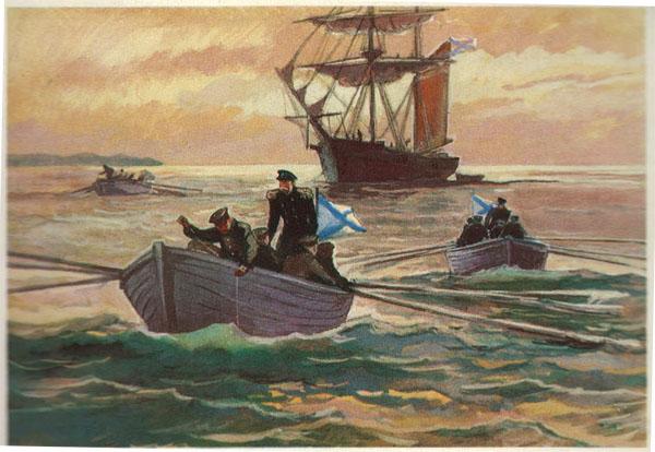Открытка из комплекта «Русские путешественники и мореплаватели». Г.И.Невельской