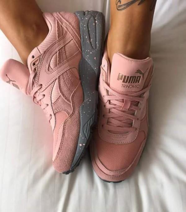 Pink and gray pumas
