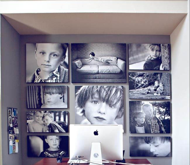 Как без рамок повесить фотографии на стену