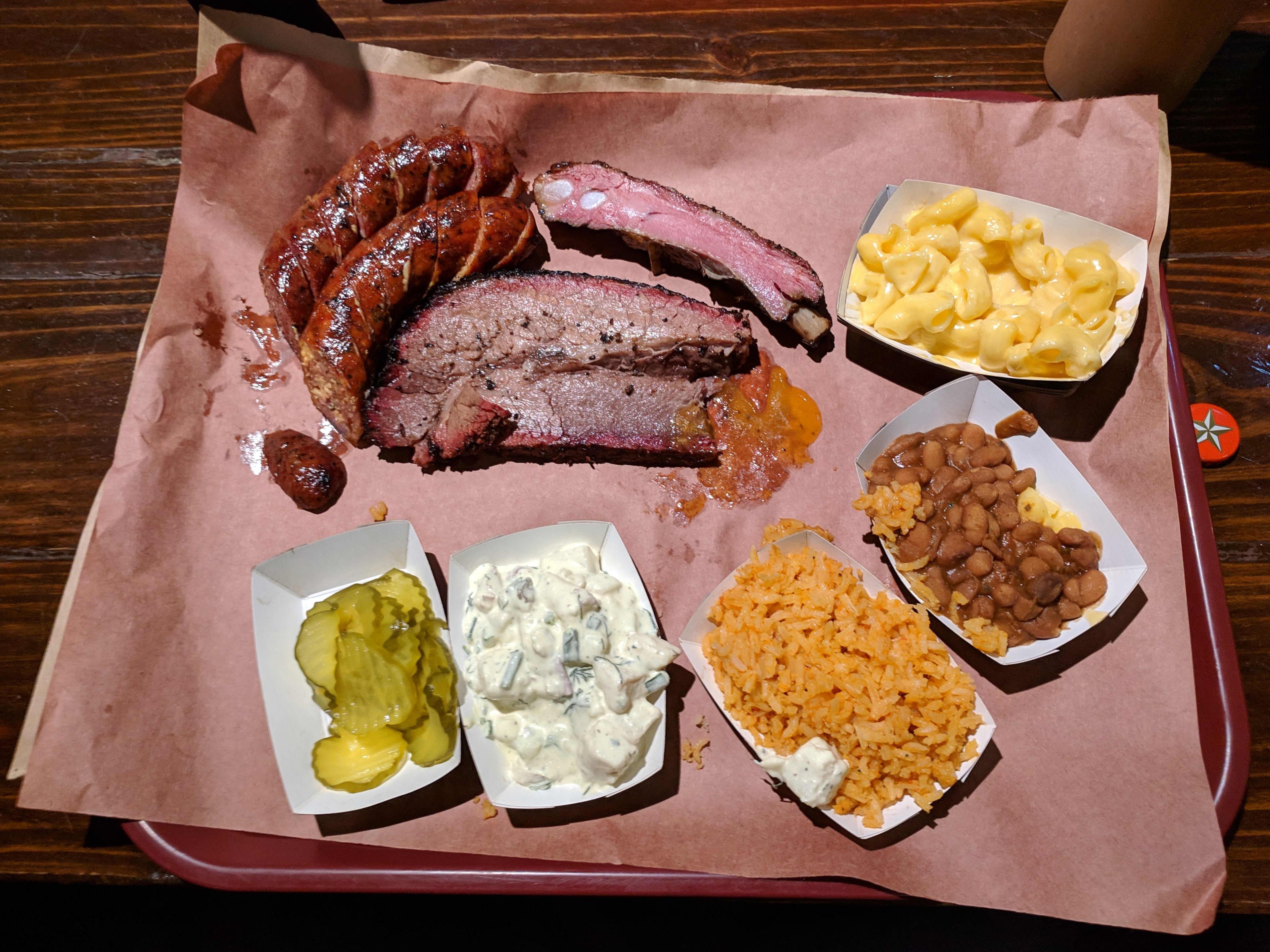 Austin Texas BBQ List Terry Blacks BBQ Brisket, Pork Ribs, Sausage, Beans, and Potato Salad