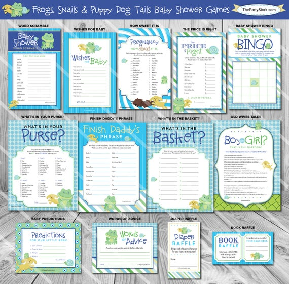 Frogs snails and puppy dog tails baby shower ideas