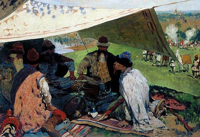 Картина С.В.Иванова. Русские князья заключают мир в Уветичах.