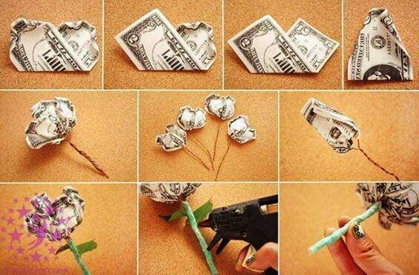 красивый цветок из денежной купюры своими руками