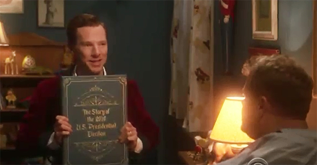Benedict Cumberbatch tells James Corden a 'bedtime story' about 2016 US presidential election