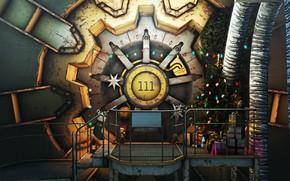 Обои Игра, Рождество, Новый год, Украшения, Праздник, Fallout, Арт, Christmas, Art, Ёлка, Игрушки, 111, Подарки, Bethesda, ...