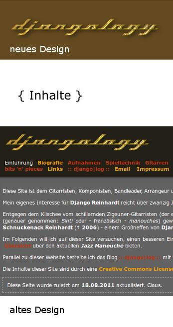 Djangology: altes und neues Design