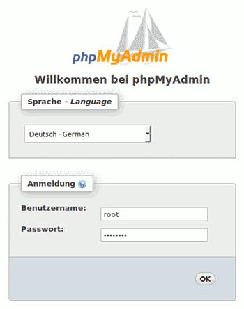 Anmelde-Bildschirm für phpMyAdmin