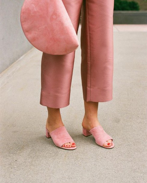 Pink mule shoes