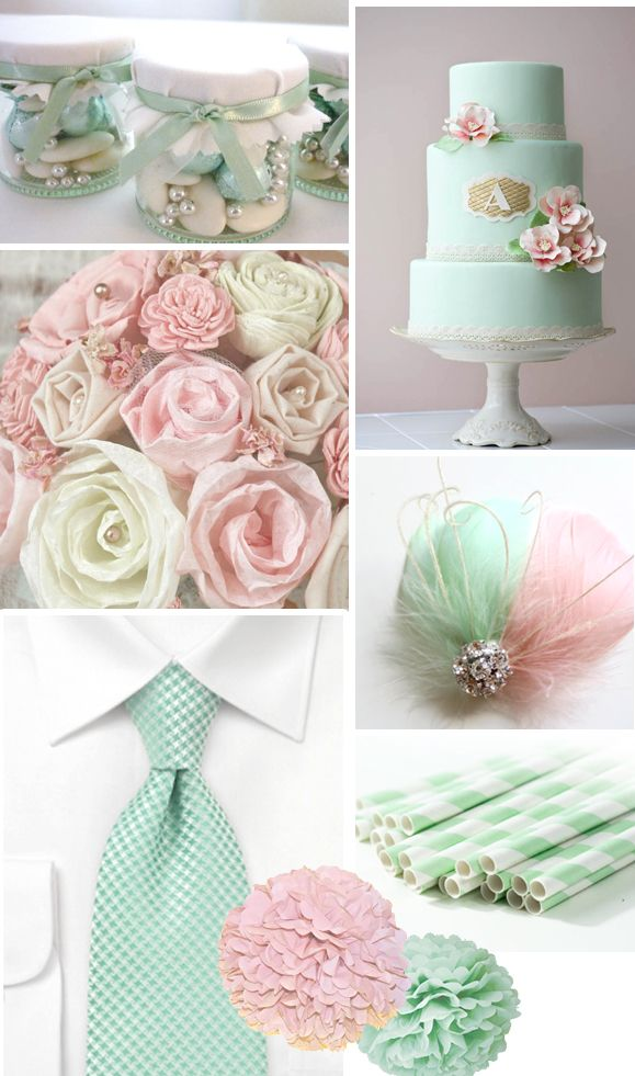 Mint green and pink wedding theme