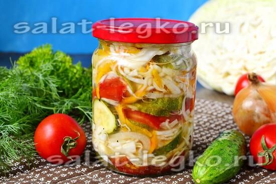 рецепт салата на зиму из капусты, огурцов и помидоров