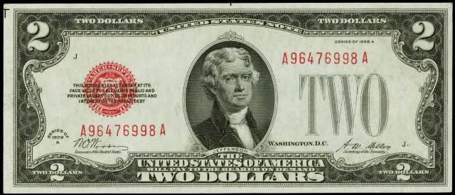 1928 two dollar bill red seal g series value