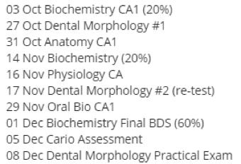 NUS dentistry exams