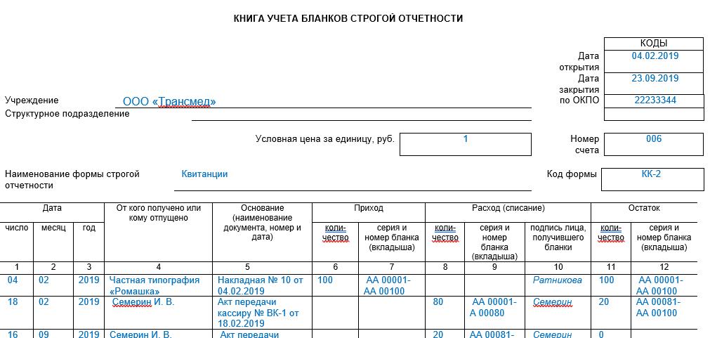 Книга учета бланков строгой отчетности форма 0504045