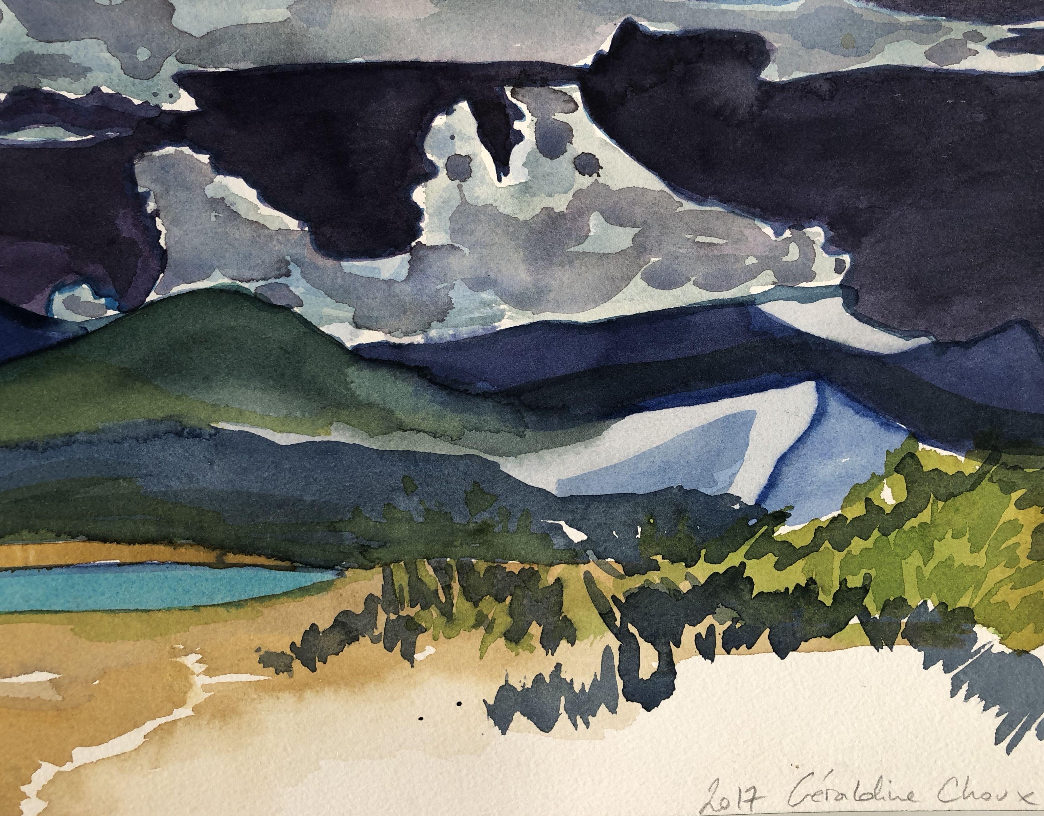 Acrylique sur papier - Géraldine Choux revient avec des paysages