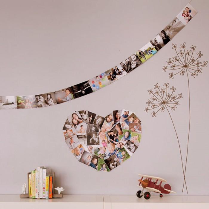 Декор фотографиями розовой стены