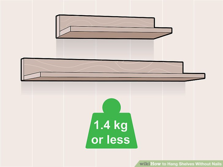 Hang shelves without nails
