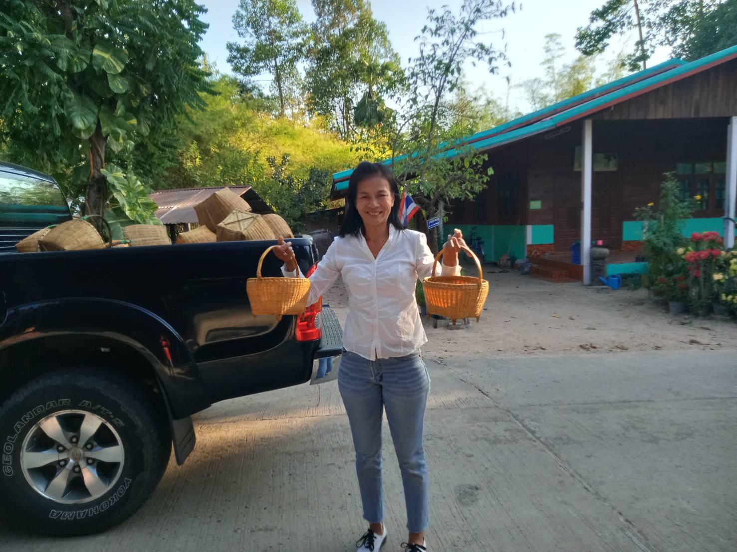 พัฒนาชุมชนกับการส่งเสริมผลิตภัณฑ์ตะกร้าไม้ไผ่