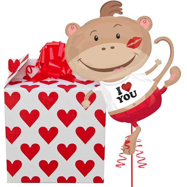 I Heart You Monkey Supershape Helium Balloon