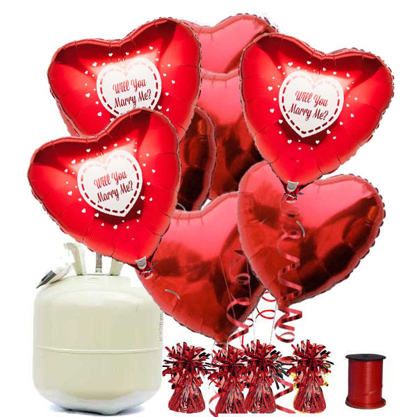 Will You Marry Me Red Heart Foil Balloon Decor Kit