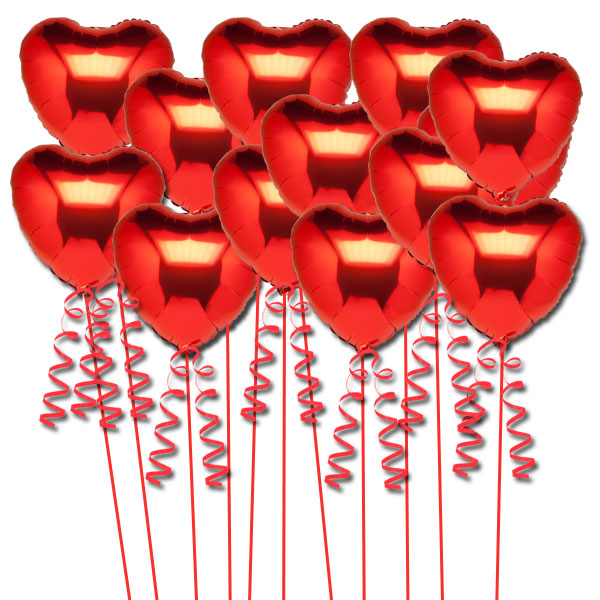 16 Inflated Red Heart Foil Balloons for Decoration