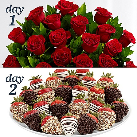 24 Long Stem Red Roses with 24 Fancy Strawberries