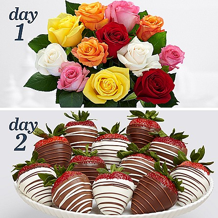 12 Long Stem Rainbow Roses with 12 Swizzled Strawberries