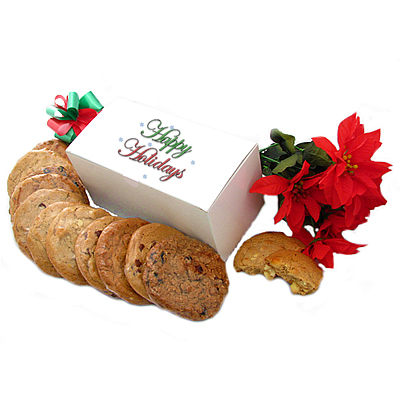 Limited Edition Apple Pie Cookie Happy Holidays White Gift Box- dozen gourmet cookies
