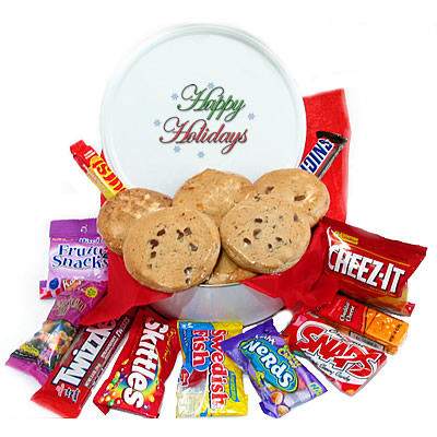 Happy Holiday Snack Tin of Goodies