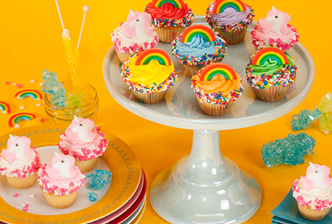 CRUMBS Mini Rainbows and Unicorns Cupcakes