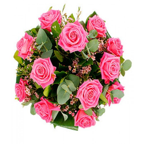 4 Dozen Pink, Red, Yellow & White Mixed Roses in a Bouquet