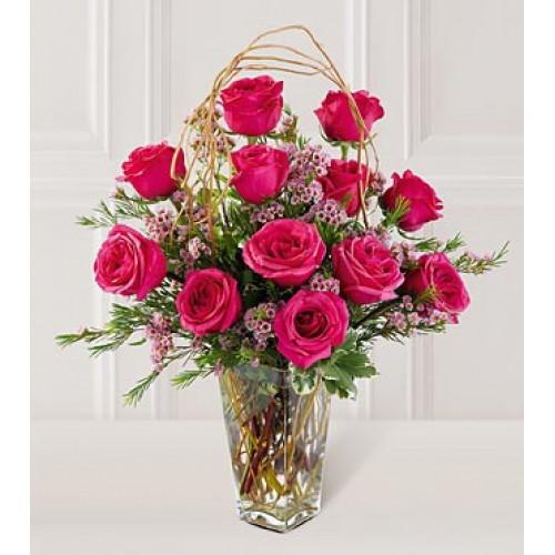 6pcs Red & 1 Dozen Pink Roses in a Vase
