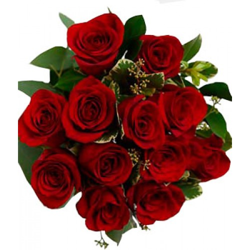 One Dozen Wrapped Red Roses