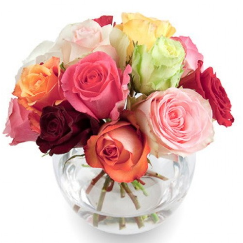 Pink and Red Carnations with a Roses in a Vase
