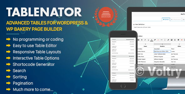 Free Tablenator - Advanced Tables for WordPress & WP Bakery Page Builder Nulled