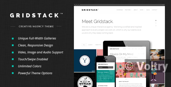 Free GridStack - Responsive Agency WordPress Theme Nulled