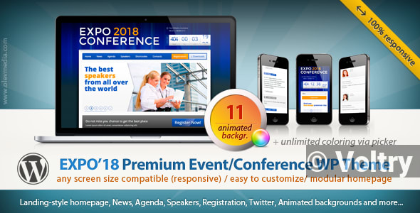 Free Expo18 Responsive Event Conference WordPress Theme Nulled