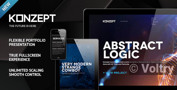Free Konzept - Fullscreen Portfolio WordPress Theme Nulled