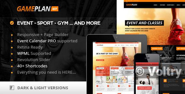 Free Gameplan - Event and Gym Fitness WordPress Theme Nulled