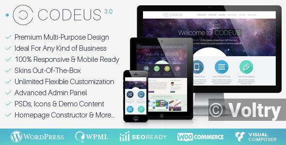 Free Codeus — Multi-Purpose Responsive Wordpress Theme Nulled