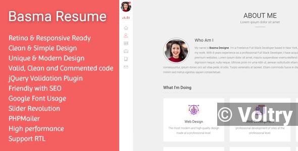 Free Basma - Resume / CV Template + RTL Nulled